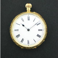 "Ladies Stewart Dawson & Co ""Princess"" 18K Solid Gold Open Face Pocket Watch"