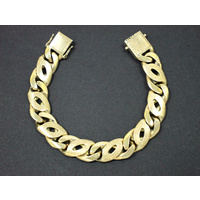 Men's 9K Solid Yellow Gold Birds Eye Link Chain Bracelet 113.2 Grams