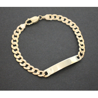 9K Solid Yellow Gold Curb Link Chain Engravable Plaque ID Bracelet 13.4 Grams