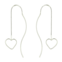 Open Heart and Curved Post Sterling Silver Threader Earrings 1.70 Grams