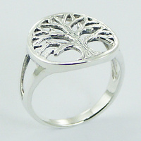 Rugged Antiqued Silver Tree of Life Ring 3.88 Grams