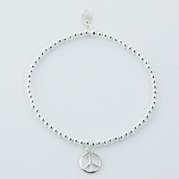 Sterling Silver Beads Stretch Bracelet with Peace Charm 4.15 Grams
