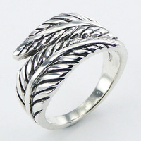 Graceful Antiqued Relief Ornate Silver Fern Leafs Designer Silver Ring 8.97g