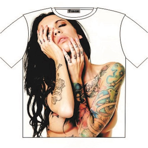 T-Shirt Nude Tattoo Girl Street Fashion Mens Ladies AU STOCK [Size: M - 40in/102cm Chest]